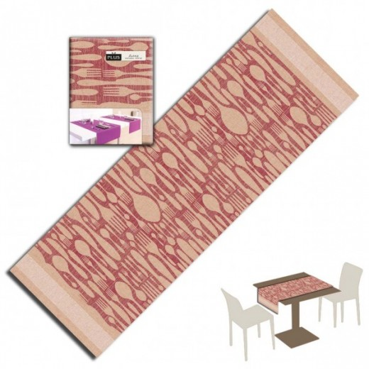 Buona Forchetta Bordeaux Runner 120x48 (Bordeaux) di www.monochic.it Tovaglie Monouso