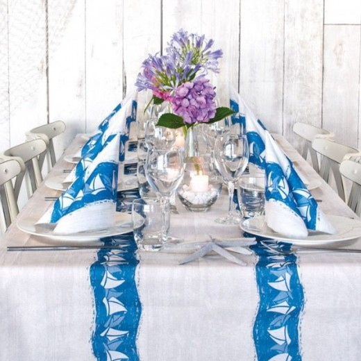 Barche Blue Table Set Party (Blu) di www.monochic.it Tovagliato Monouso