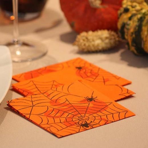 Ragni Arancio Tovagliolo Aperitivo 24x24 (Halloween) di www.monochic.it Tovaglie Monouso