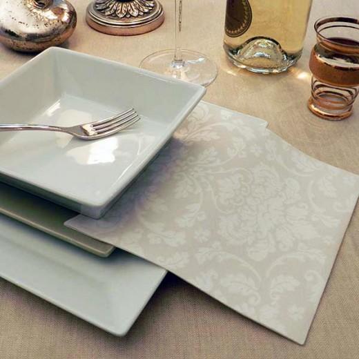 Victoria Bianco Tovagliolo 40x40 (Natale) di www.monochic.it Tovaglie Monouso