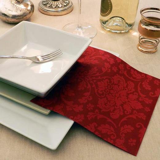 Victoria Bordeaux Tovagliolo 40x40 (Natale) di www.monochic.it Tovaglie Monouso