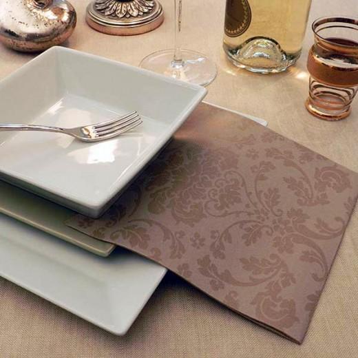 Victoria Cappuccino Tovagliolo 40x40 (Cerimonie) di www.monochic.it Tovaglie Monouso